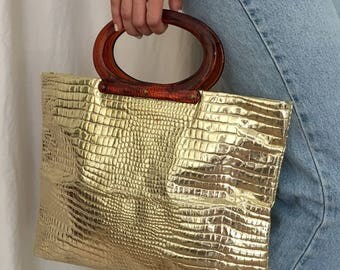 60s Gold Foil Faux Croc Handbag with Lucite handle