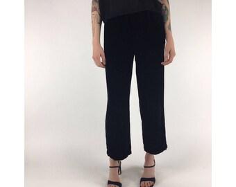 Vintage Black Velvet Pants, High Waisted Narrow Elastic Waistband, Wide Leg Cut || Sz S