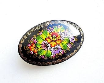 Russian folk art painted hairpin, colorful flowers floral russian wooden barrette