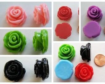 4 Cabochons Résine Fleur 24x13mm au choix DIY bijoux déco
