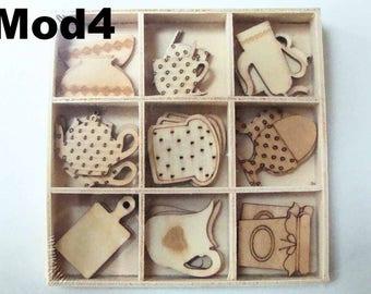 27 Embellissements Scrapbooking Bois Artemio au choix Cuisine Gourmandise en casier pyrogravé 3pcs x 9 motifs