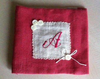 Clutch purse with sewing needle red linen pique