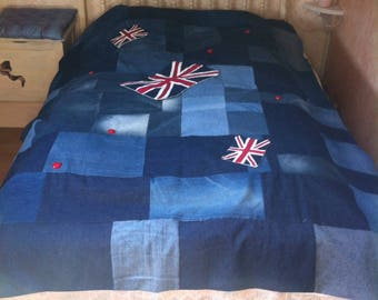 Plaid bedspread reclaimed denim and flag union jack English