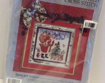 Santa and Animals Counted Cross Stitch Kit by Something Special Unopened 1991 by Carol Bryan