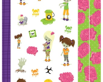 Zombies - 4 pages of Zombie Themed Planner Stickers, Alternative, Halloween, for Personal, Pocket, ECLP, Kikki.K Filofax, Happy Planner