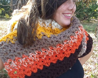 Crochet Shawl Wrap Hooded Cape Cowl in Shades of Brown Gold and Pumpkin, Outlander Inspired Cowl