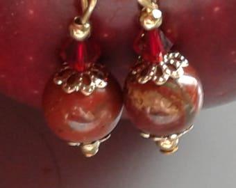 Apple Jasper Bead Earrings