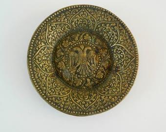 Vintage Brass Ashtray,Antique Greek Ashtray, Double Headed Eagle,Brass Tray,Ring Holder,Byzantium Emblem,Tobacciana,Decorative Brass Plate