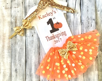 Personalized girls thanksgiving outfit, 1st thanksgiving outfit, first thanksgiving, bodysuit, orange gold, baby girl thanksgiving, name