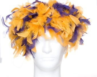 Purple and Gold Vikings Feather Wig