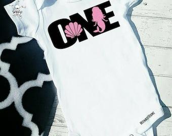 First Birthday Shirt, MERMAID , First Birthday Outfit, pink,  Black, White, One, Birthday Shirt, Girl Birthday shirt
