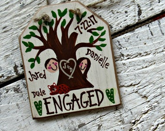 Engaged Ornament, Rustic Engagement Ornament, Personalized Engagement Gift, Engaged Christmas Ornament,  Hand Painted Wood Ornament