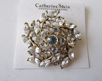 Vintage Rhinestone Pin Sparkly Brooch Catherine Stein on Store Card NOS