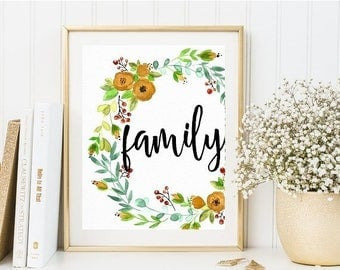 70%OFF family floral print, printable quotes, printable home decor, quote art, typography quotes, instant printable, instant download,