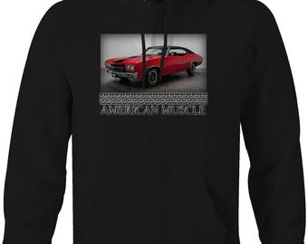 American Muscle Chevy Chevelle SS Black Red Racing Hooded Sweatshirt- 5072