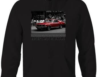 American Muscle Car Mustang Classic Street Scene Hooded Sweatshirt- 5330