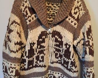 Beautiful vintage thunderbird cowichan sweater siwash wool heavy some damage