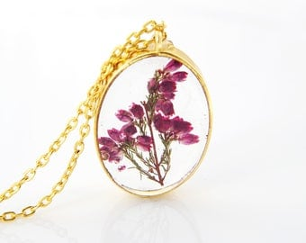 Flower necklace Terrarium jewelry Christmas gift for her Pressed flower Botanical necklace Plant jewelry Anniversary gift for women Woodland