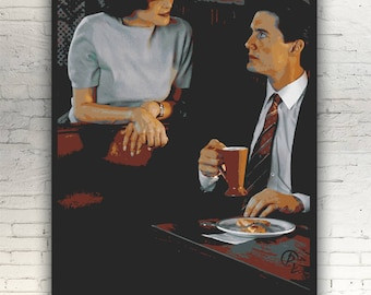 "Twin Peaks - CANVAS -16""x12"" artwork print on cotton canvas alternative movie poster David Lynch Audrey Horne Sherilyn Fenn Dale Cooper"