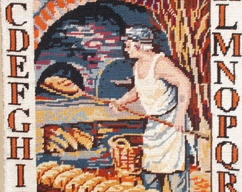 French Needlepoint Tapestry Le Pain,  Completed Hand Sewn, French Bakery, Bakers. Perfect for framing, bags, cushions etc.   (6513s)