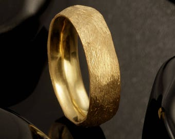 Mens Wedding Ring, Comfort Fit Interior, Unique Wedding Band, 14K Yellow Gold Ring, Gold Wedding Band, His and Hers Wedding Rings,  RS-1230