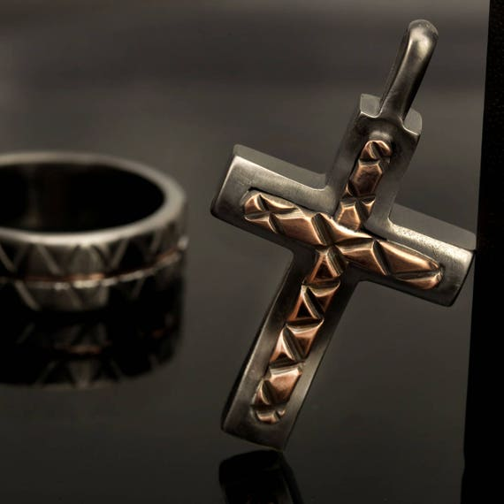 Sterling silver mens cross pendant silver and copper handmade like this item mozeypictures Gallery