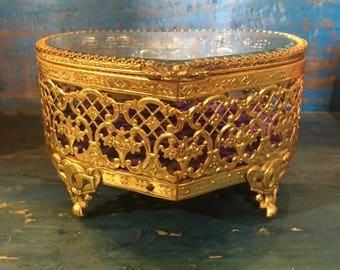 Vintage Brass jewelry box, Heart shaped jewelry box