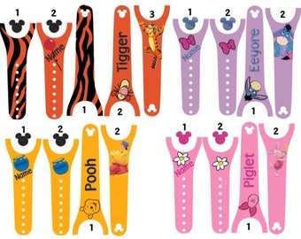 IMPROVED Magic Band 2.0 Decals, Pooh & Friends, winnie the pooh, tigger, piglet, eeyore, personalized band