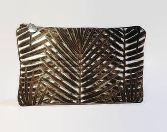 flat pouch in khaki white Brown exotic foliage print fabric