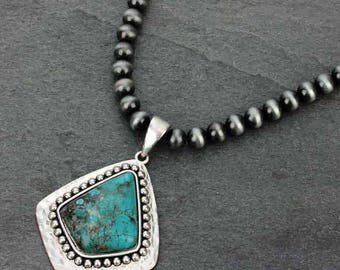 Navajo 10mm Pearl Necklace and Natural Stone Pendant