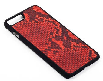 Red Leather Case with natural Python Leather for iPhone 6/6 Plus & 7/7 Plus