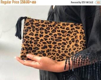 SUMMER SALE SMALL flat cheetah clutch, Genuine leather leopard clutch, animal print clutch, leopard leather clutch, leather clutch, leopard