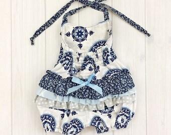 Baby Girl Romper - Ruffle Romper - Toddler Girl Romper  - Nautical Baby Outfit - Sailor Baby Outfit - Sale!