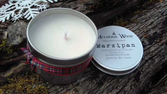 Hand Poured Marzipan Scented CHRISTMAS Natural Soy Wax Tin Candle