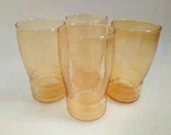 Vintage Set of 4 Federal Glass Drinking Glasses