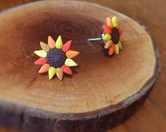 Handmade Little Bits Earrings Yellow Orange Sunflower Stud Earrings Polymer Clay Surgical Steel
