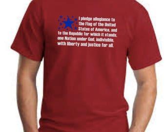 Men's July 4th Shirt, USA Tee, Pledge of Allegiance Shirt, Patriotic Shirt