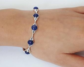 Lapis lazuli bracelet set in 92.5 sterling silver