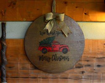 Rustic Christmas Decor - Red Truck with Christmas Tree Door Hanger
