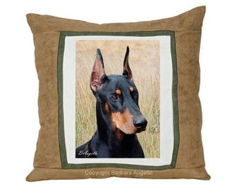 Doberman Pillow, Doberman Gift, Doberman Throw Pillow, Doberman Art, Doberman