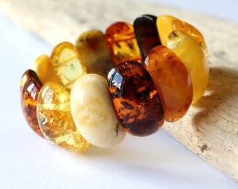 Multicolor amber bracelet, natural amber beads, royal amber jewelry, natural Baltic amber, luxurious amber bracelet, massive amber bracelet
