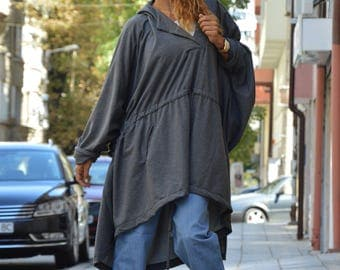 Quilted Cotton Dark Grey Hooded Jacket, Extravagant Asymmetric Sweatshirt , Maxi Tunic with front Pocket by SSDfashion
