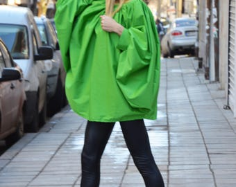 Green Asymmetric Loose Shirt, Soft Cotton Oversize Shirt, Extravagant Maxi Tunic Top Design by SSDfashion