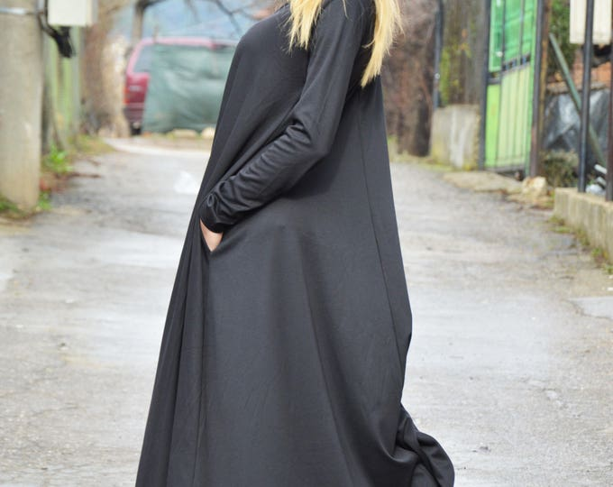 Extravagant Long Dress, Dark Grey Dress, Plus Size Long Sleeves Dress, Kaftan Loose Dress, Party Dress by SSDfashion