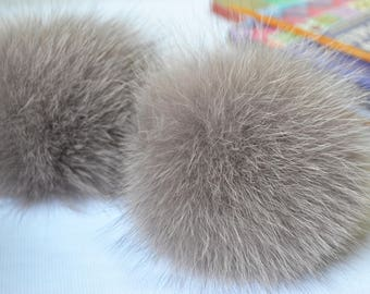 Cappuccino fur pom pom Arctic fox pom pom Beige coffee real fur pom-pom for knitted hat or for bag Large pompom Furry ball 12-13 cm (5 inch)