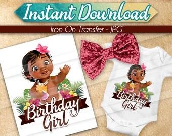 DIGITAL FILE Baby Moana Iron On Transfer, Moana Birthday Girl, Moana birthday shirt, Moana Tshirt Transfer, Moana iron on