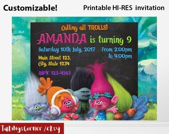 Trolls Invitation, Trolls Birthday, Trolls Birthday Invitations, Trolls Party, Trolls Birthday card, Trolls invitation card, Trolls, print