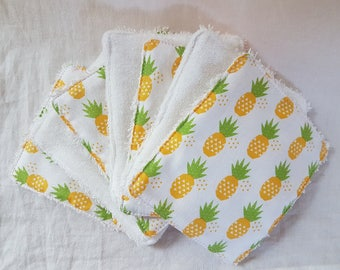 Set of 7 wipes washable cotton and organic cotton * limited edition * white pineapple motifs
