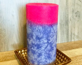 Organic Rose Vanilla Palm Wax Pillar- Decorative Pillar-Valentine Day Gifts-Scented Pillar Candles- Vegan- Rustic Decor