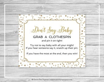 White and Gold Baby Shower Don't Say Baby Game - Printable Baby Shower Don't Say Baby Game - White and Gold Confetti Baby Shower - SP149